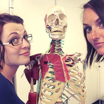 Clare and Alison with a medical skeleton