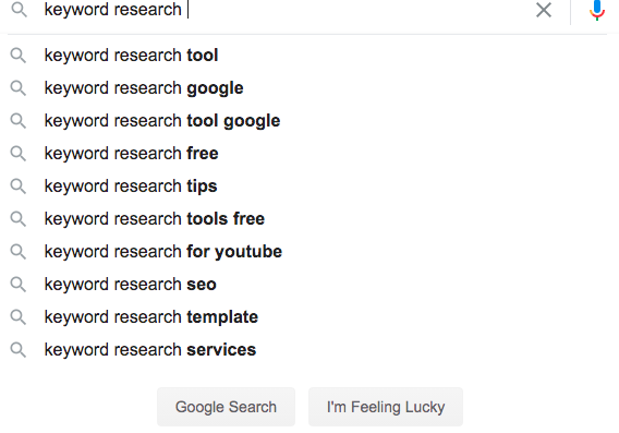 Google search results for keyword research