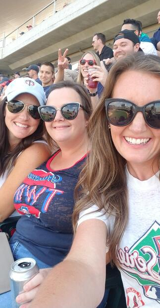 Alison, Emily, and Julia at a Twins Game