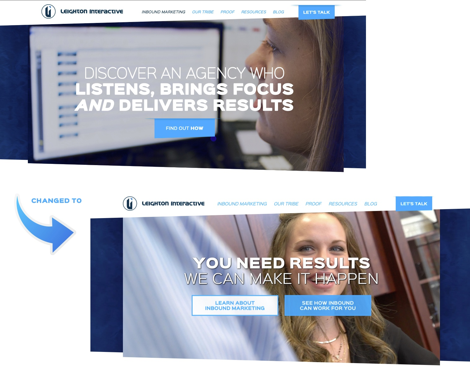 Leighton Interactive Homepage with CTAs